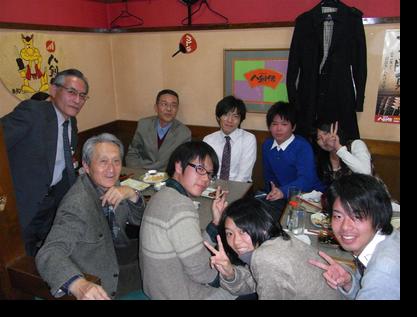 八剣伝:大島ゼミ(OB緒方講師、現役生5人)が参加、大島先生を囲むゼミのようでした